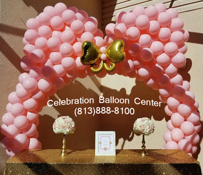 Balloon Arch With A Gold Bow Tie Accent For Very Special Little Girls First Birthday Party We Adore The Use Of Pink And Happy