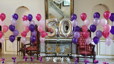 We Created Cascading Arrangements With An Ombre Effect In Shades Of Pink And Purple Sometimes A Simple Design Can Go Long Way Happy 50th Birthday